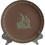 Pretty Pink Wedgwood Collectible Jasperware Plate with Relief Panel of Autumn