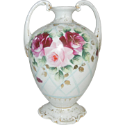 Unusual Vase with Beautiful Cabbage Roses on Latticework