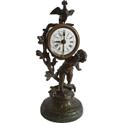 Rare 1930's Bronze German Alarm Clock with Cherub & Rooster