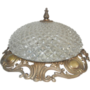 Vintage Glass Dome with Ornate Frame & Finial Ceiling Lamp