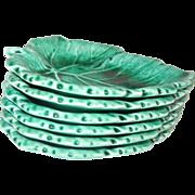 Gorgeous Emerald Green Wedgwood Etruria Set of Six Small Leaf Dishes
