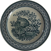 Charming 19C Wedgwood Transferware Plate with Flowers, Birds and a Castle