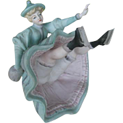 Not signed Heubach figurine falling skater 5 1/2 inches by 4 inches.
