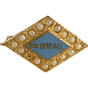 Vintage 10K The Citadel Military College Enameled Lapel Pin w/ seed pearls