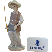 "Going Fishing - Lladro porcelain figurine 1972 #4809 - 8.5"" tall - mint condition fisher"