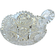 American Cut Glass ABP NAPPY DISH Sawtooth, Hobstar, Whirling Star, Fine Buzz Cutting