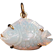 REDUCED Fish Pendant of Black Crystal Opal set in 14k custom made
