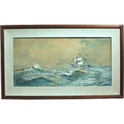 Franklin Dullin Briscoe sailing ship seascape watercolor watercolour on paper late 1800s