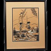 "Original Jack Harrington Cartoon Charcoal Pencil Drawing ""Unsnagging Fishing Line"" N"