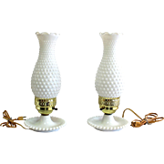 Fenton Milk Glass Hobnail Pair of Lamps 13 inches tall Vintage Chimney Lamp