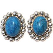 SALE CYBER SALE $90 Oval Turquoise & Sterling Silver Earrings Circa 1961 Made in Mexico