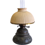 Antique Dual Wick Oil Lamp, R. Hollings & Co Boston, Mass, circa 1879