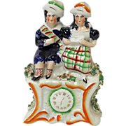 Staffordshire 19th Century - Royal Children, Boy and Girl Above Clock. Circa 1850