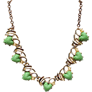 Vintage Mid Century Thermoset Lucite Green Leaves Necklace