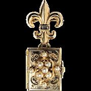 Vintage Coro Quadruple Locket Pin Brooch Fleur Di Lis Faux Pearls