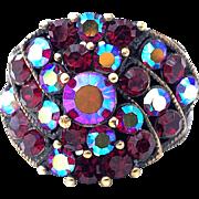 Vintage Brilliant Crimson Aurora Borealis Rhinestone Ring