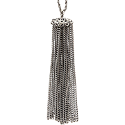 Vintage 1960's Long Chain Necklace With Silver Tone Tassel