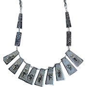 Vintage Silver Tone Ecuador Tribal Bib Necklace