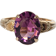 Vintage 10K Gold Ring Deep Purple Amethyst Stone