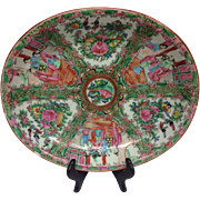 "Lovely Chinese Famille Rose Medallion Mandarin Export Medium Size Platter 11"", 1900s"