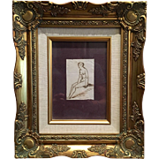 Beautiful classical drawing In pen, late 18th century laid paper, depicts a study of a ...