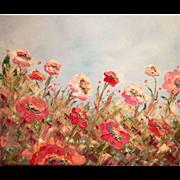 Sarah Kadlic Summer Wild Flowers Pale and Bright Pinks 24x20 Original Oil Painting