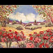 "Tuscany Red Pink Poppies Original Oil Painting by Artist Sarah Kadlic 30""x24"""