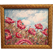 """""""French Wild Poppies"""", Original Oil Painting in Gilt Wood Frame by artist Sarah Kadl"""