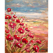 """Abstract Vertical Poppies Original Oil Painting by Artist Sarah Kadlic 24x20"""""""