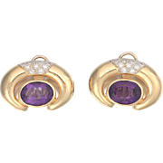 Large Impressive Pair Vintage Amethyst, Diamond 14kt Gold Oval Pierced Earrings