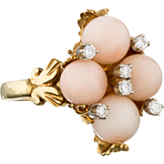 Gorgeous Elegant Diamond and Angel Skin Coral 18k Gold Cocktail Ring