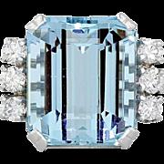 1950s Mid Century Retro Vintage Estate 16 Carat Aquamarine VS Diamond 14k Gold White Ring