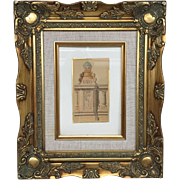 Beautiful 19th Century Classical Architecture Sketch Drawing Colored Painting