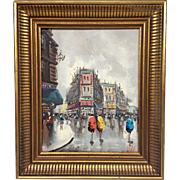 Wonderful Vintage Mid-Century French Paris Painting 1950s Original Oil by Listed Artist Antoni