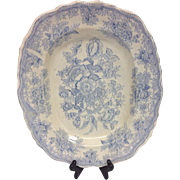 Beautiful Light Blue Transferware Plate Platter, Early 1900