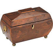 """Beautiful Burled and Inlaid Wood Antique 1900s Tea Caddy 9"""" x 5"""""""