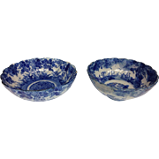 Pair 1900s Chinese Export Blue White Porcelain Bowls 7""