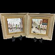 Adorable Vintage Pair Mid-Century 1950s Original Charles Nicoise Oil Paintings on Tile