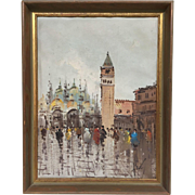 Wonderful Vintage French Mid-Century 1950s Original Oil Painting Venice St. Mark's Plaza Stree
