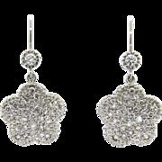Lovely 18K Gold WG Flower 0.65 H/VS/SI Diamond Dangle Earrings
