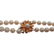 Beautiful Double Strand Cultured 5mm Pearl Necklace with 14 Karat Gold Large Flower Clasp 25 .