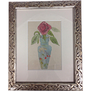 19th Century French School Original Watercolor Painting Silver Leaf Frame 12x9