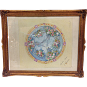French School Floral Ceiling Decoration Watercolor Painting Signed 19th Century