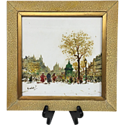 Wonderful Vintage French Paris, France Mid-Century 1950s Original Oil Paintings on Tile Signed
