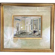 Beautiful 1930s Original Artist Interior Sketch Illustration Painting Drawing Watercolor with