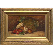 Stunning Gold Gilt Frame Still Life Original Oil Painting Art, 19th Century Chester Earles