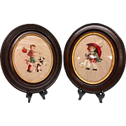 Lovely Antique Pair of Needlepoint Walnut Frames of a Young Boy and Girl