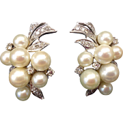 Outstanding Art Deco 1940s 1950s Diamond, Cultured Pearl and 14K Karat Gold Pierced Omega Clip