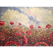 """""""Abstract Wild Poppies Red and Pink"""", Original Oil Painting by artist Sarah Kadlic"""