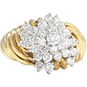 Hammerman Brothers 18k Gold 1.40 cttw Diamond Cluster Ring